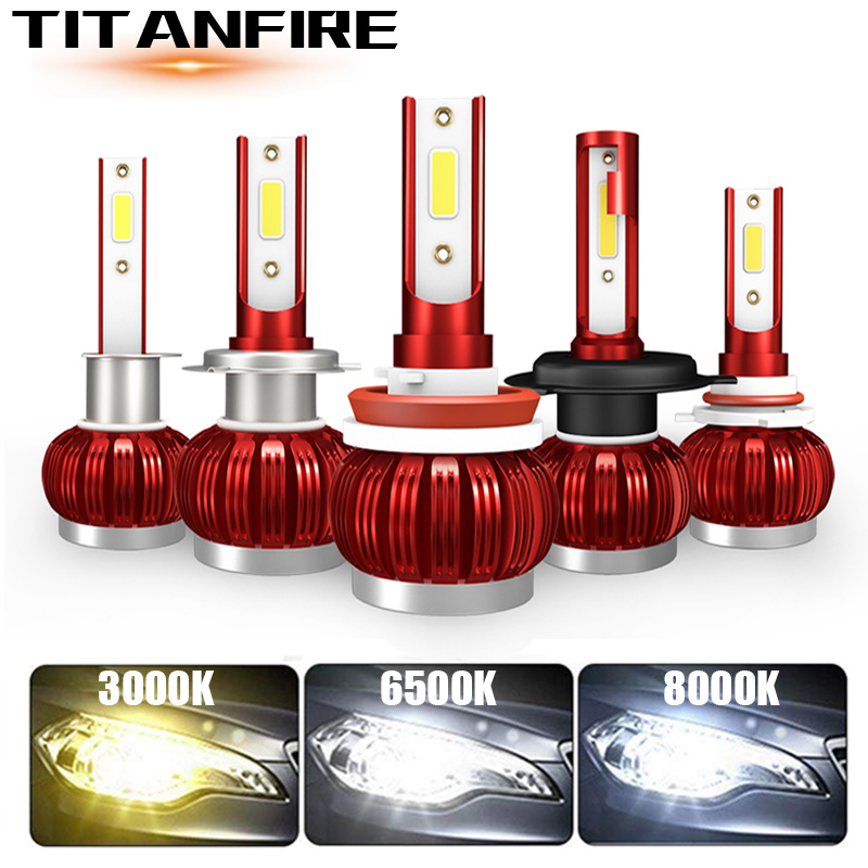 TF30 2Pcs 3000K 6000K 8000K COB 6000LM H1 H3 H8 H9 H11 9005 9006 H4 H7 Led Car Headlights Bulbs  9003 Hi/Low 9004 H13 Auto LED