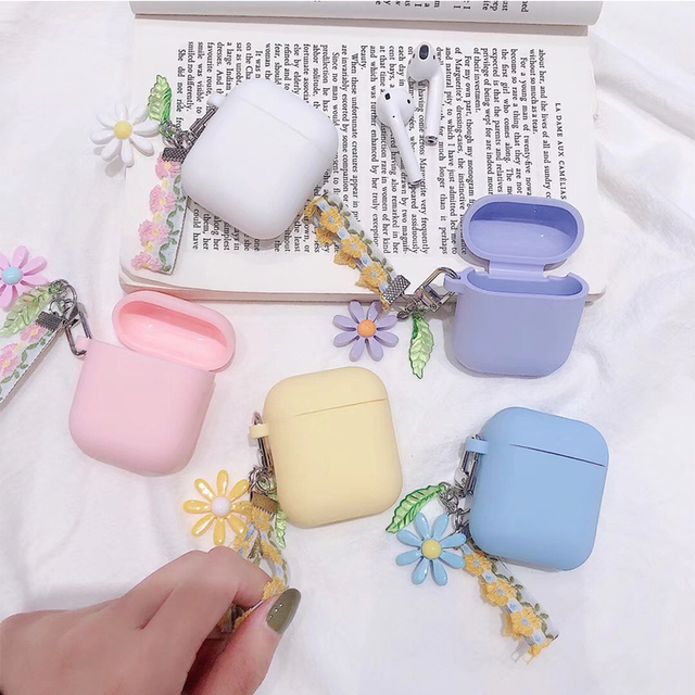 Luxury Cute Korean Flower Decoration Case for Apple Airpods Case ornament Accessories Bluetooth Earphone Silicone Cover Key Ring 1