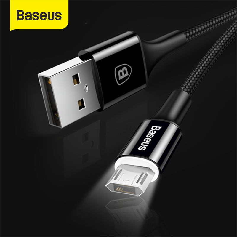 Baseus LED Lighting Micro USB Cable for Xiaomi Redmi 4X Note 4 5 Reversible Micro USB Charging Cable for Samsung S7 Mobile Phone|Mobile Phone Cables|   - AliExpress