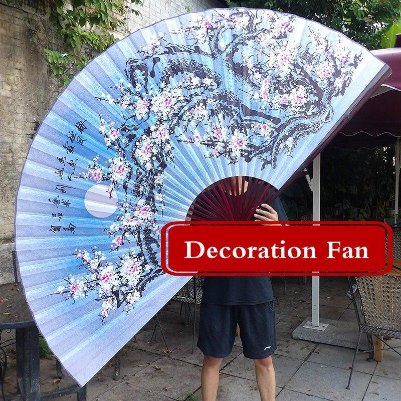 Décoration surdimensionnée chinoise ventilateur pliant classique montage mural Imitation soie ventilateur pliant salon mobilier décoratif