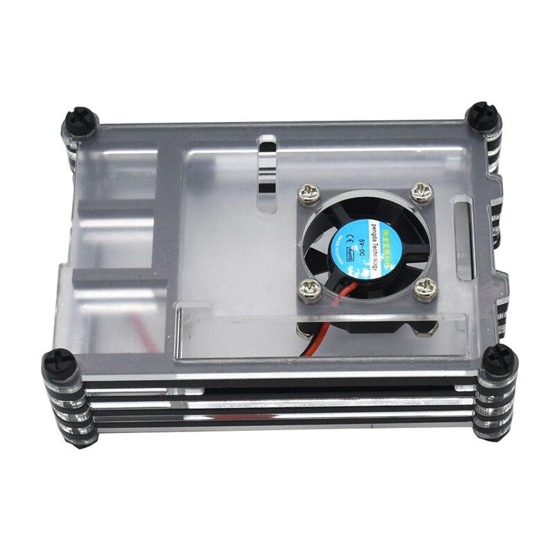 Acrylic Case for Raspberry Pi 4 B,Raspberry Pi Case with Cooling Fan & Heatsinks for Raspberry Pi 4 Model B