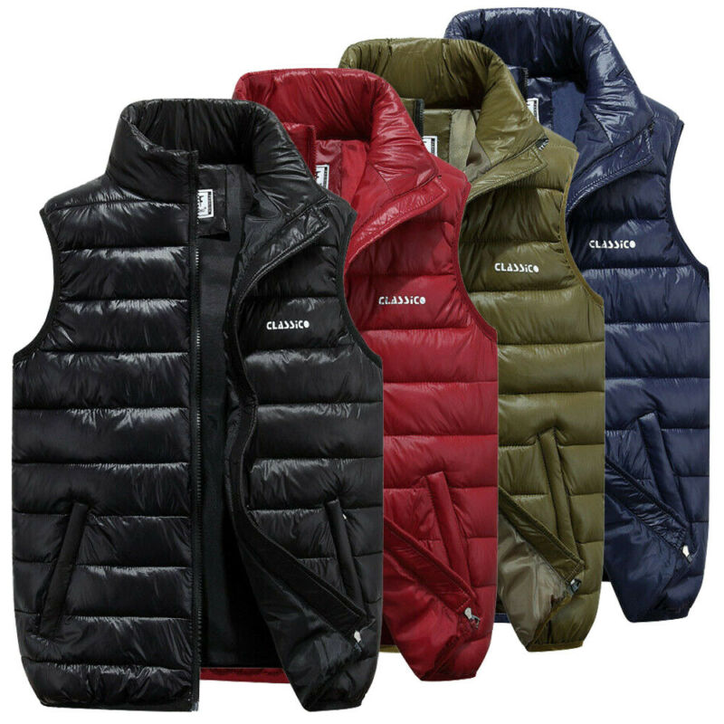 4 Colors Men Casual Sleeveless Vest Top Coat Male Padded Vest Jacket Quilted Outwear Tops Zip Up Waistcoat Outfits Plus Size