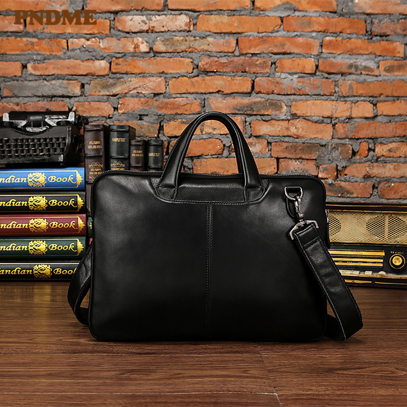 PNDME Men's Genuine Leather Briefcase Business Laptop Bag Vintage Simple First Layer Cowhide Lawyer Messenger Bags Work Handbags