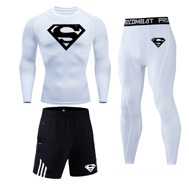 Men's Compression Fit Tights 3pcs / sets Sportswear GYM traning Clothes Suits Quick dry Superman jogging Sportswear Fitness Dry