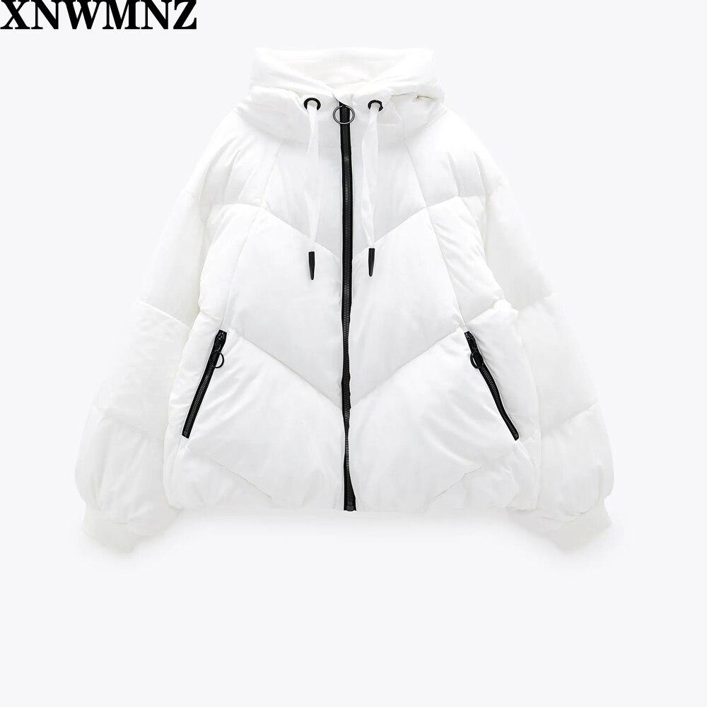 XNWMNZ Za Женская модная Водоотталкивающая куртка-пуховик винтажный с высоким воротником и капюшоном на шнурке Женское пальто с длинными рукав...