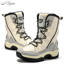 Mhysa 2019 botas altas de invierno de moda para mujer zapatos de invierno de felpa abrigados de lana para mujer botas de nieve de encaje a mediados de- de calzado