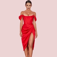 Ocstrade Rood Off Shoulder Korte Mouwen Over Knie Gerimpelde Slit Bodycon Jurk HI1116-Red