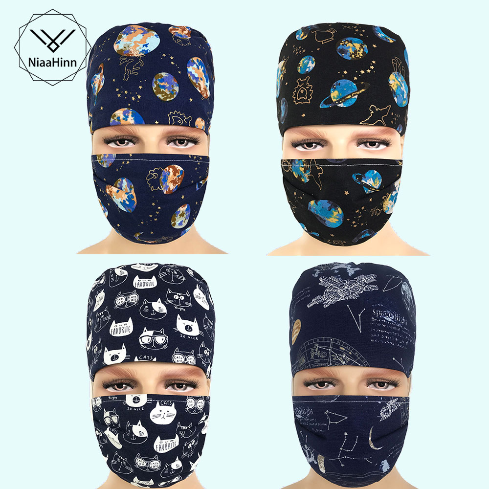 Mens Scrub Caps Hospital Print Medical Masks Cotton Adjustable Perfect Sewing Nurse Caps High Quality Men's Surgical Caps