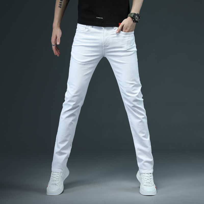 SHAN BAO Men's Fitted Slim White Jeans 2021 Spring Classic Brand High Quality Comfortable Cotton Stretch Fashion Casual Pants