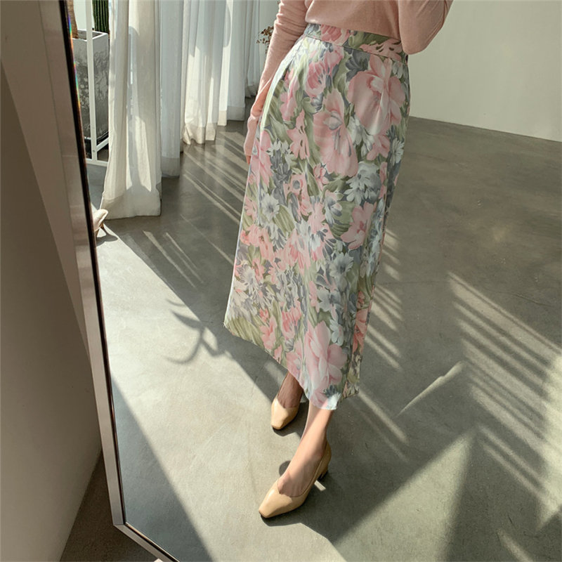 Hzirip Stylish 2020 Hot Sale Florals Chic All Match New High Waist Office Lady Retro Mid-Length Printed Vintage Women Skirts