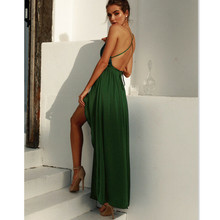 Summer Dresses NEW Women Green Lace Sequin Long Loose Dress Sleeveless V-Neck Backless