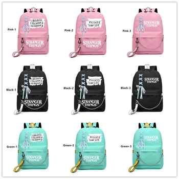 IMIDO Stranger Things Student Backpacks Large Capacity Breathable School Bag With USB Charging Chain&Bow-knot Backpack For Girl
