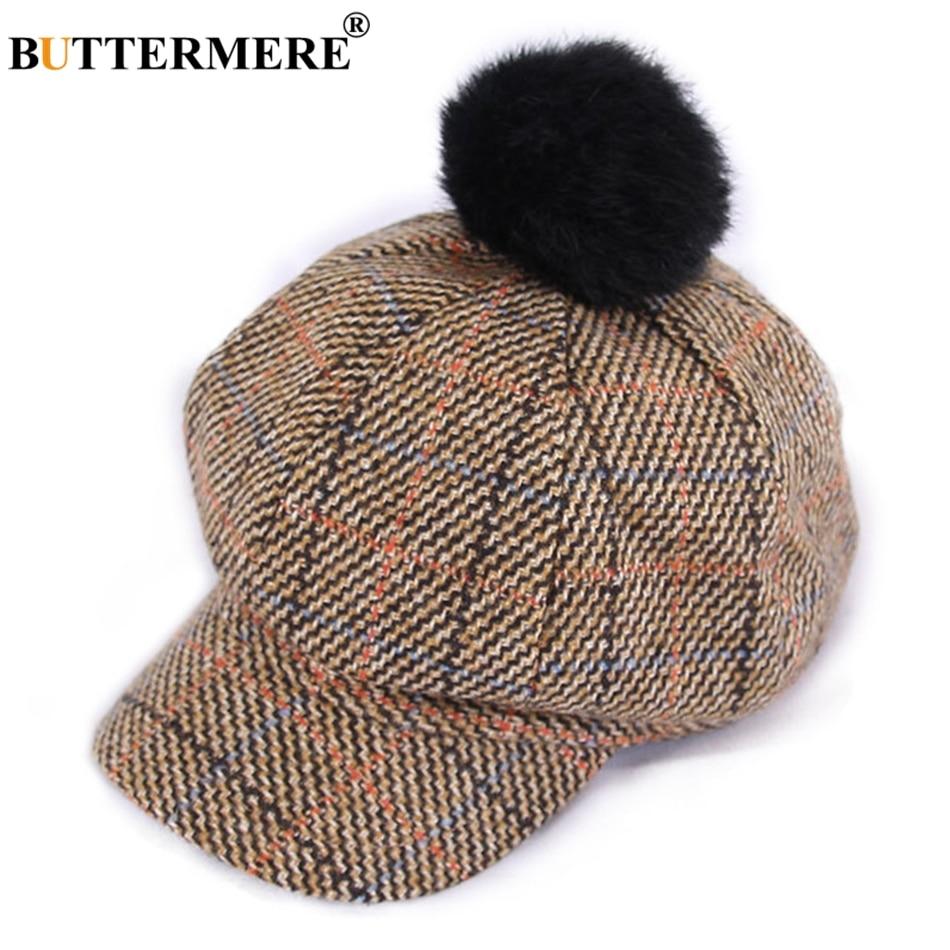 BUTTERMERE Spring Autumn Hat Cotton Newsboy Caps Women Plaid Khaki Octagonal Cap With Pompom Vintage Tartan Painter Cap Berets