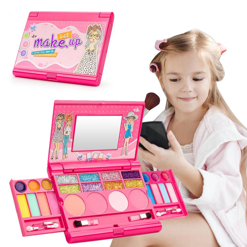 Kids Make Up Toy Set Princess Girls Cosmetics Play Set Palette Vanity With Mirror Washable And Non Toxic Makeup Kit For Kids