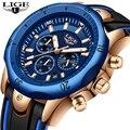 Neue 2019 LIGE Mode Blau Silikon Herren Uhren Top Marke Luxus Uhr Männlichen Militärische Wasserdichte Quarzuhr Relogio Masculino