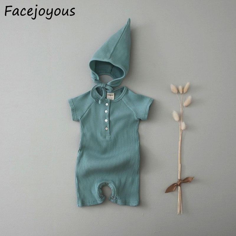 Newborn Costume For Baby Girls And Boys Summer Clothing Rompers Infant Kids Cotton Ribbbed Clothes Baby Jumpsuit With Hat Outfit