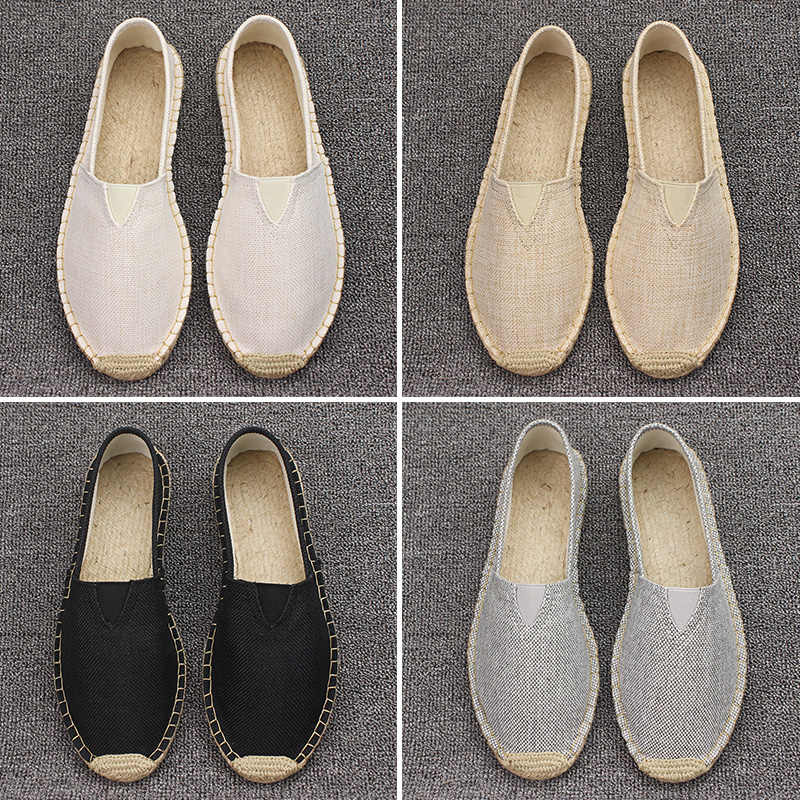 Artı boyutu 35-45 kadın dikiş keten ayakkabı loafer'lar üzerinde kayma rahat ayakkabılar kadın Espadrilles kenevir tuval düz ayakkabı