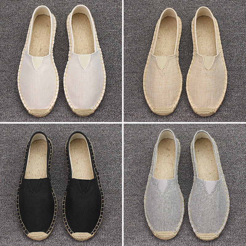 Plus Size 35-45 Women Sewing Flax Shoes Slip On Loafers Casual Shoes Woman Espadrilles Hemp Canvas Flat Shoes