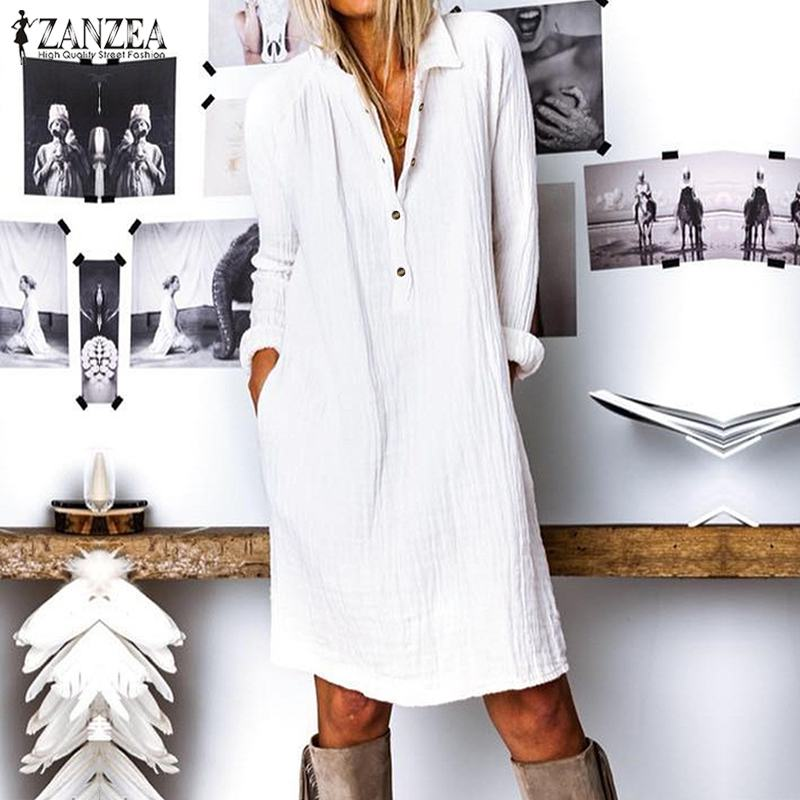 ZANZEA 2020 Herbst Mode Langes Hemd Kleid Elegante Arbeit OL Sommerkleid Frauen Casual Revers Langarm Baumwolle Vestido Femme