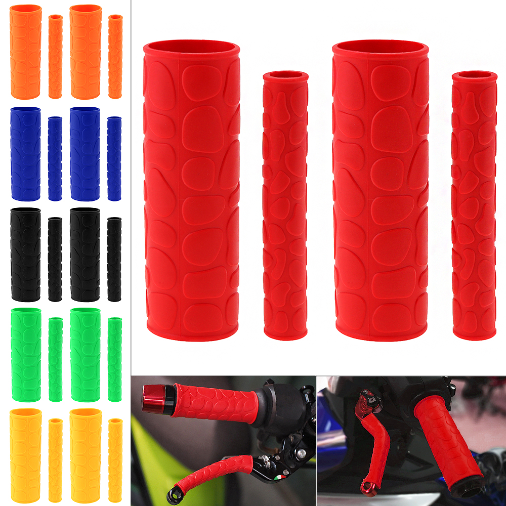 1 Pair 106 MM Soft TRP Motorcycle Handle Grips With Pattern And 2 Pcs Handbrake Covers For Universal Motorcycle Motorbike Moped