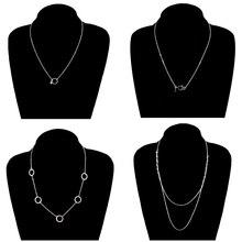 4 Pcs/ Set Classic Long Chain Silver Color Pendant Necklace Women Round Circle Beads Multilayer Necklace Jewelry round pendant chain necklace set 2pcs