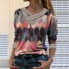 Blouse Women Vintage Shirt Women Tie-dye Printed Embroidery Collar Long Sleeve Pullover Blouse Tops Blusas Mujer рубашка женская 1