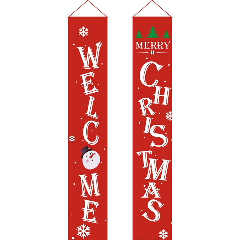 SHGO HOT-Merry Christmas Banner Christmas Porch Fireplace Wall Signs Flag For Christmas Decorations Outdoor Indoor For Home Part