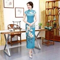 Vintage Chinese Traditional Women Rayon Print Flower Qipao Plus Size 5XL Mandarin Collar Cheongsam Novelty Chinese Formal Dress