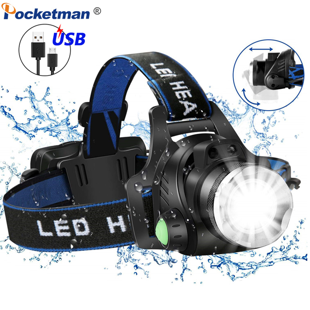 8000LM Powerful Headlamp L2/T6 LED Headlight Zoom Head Front Light Waterproof Head Lamp Use 18650 Rechargeable Battery
