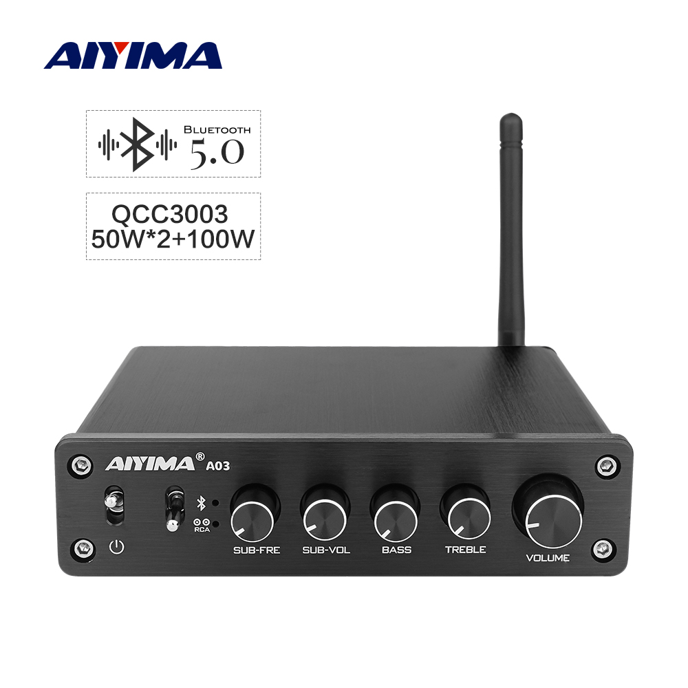 AIYIMA TPA3116 Amplificador Subwoofer Audio Bluetooth Sound Amplifier 2 1 50Wx2 100W HiFi TPA3116D2 Digital Power Home Amplifier