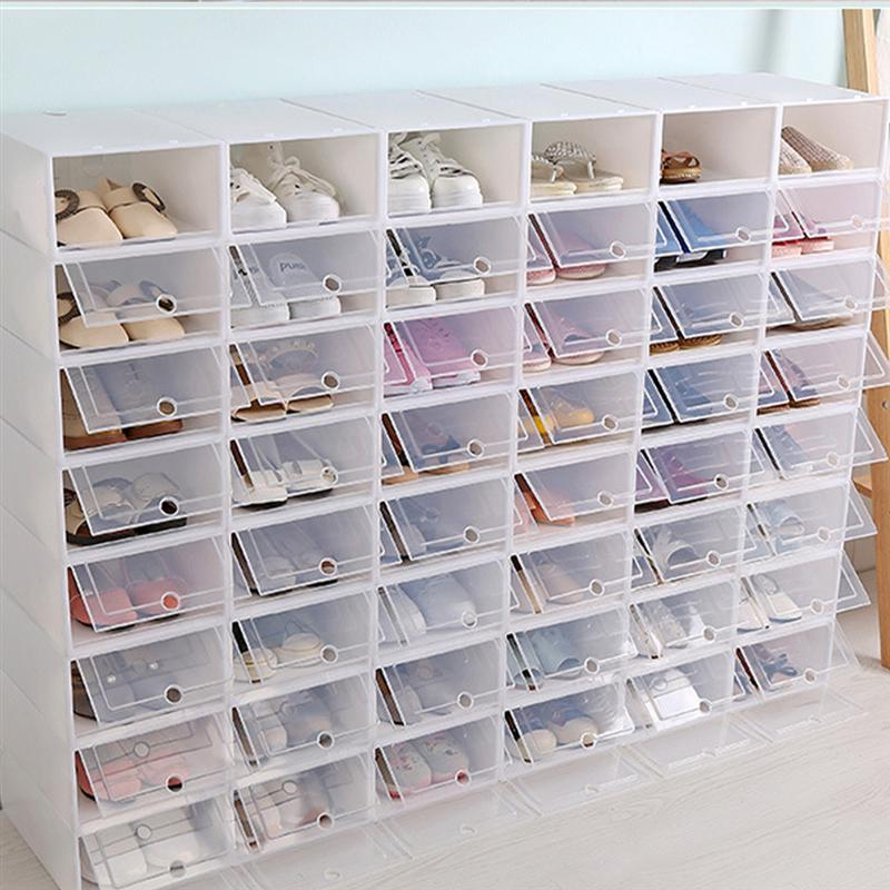2PCS Thicken Shoes Box Transparent Stackable Shoes Storage Box Plastic Shoe Container Home Storage Organizer (White)