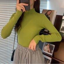 Простой Женский вязаный свитер однотонный осенний с длинным