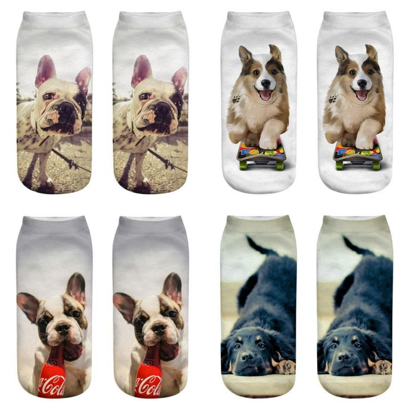 2019 New Fashion 3D Kawaii Dogs Cats Corgi Bulldog Woman Socks Cute Animal Unisex Ankle Sock Woman Man Girl Boy