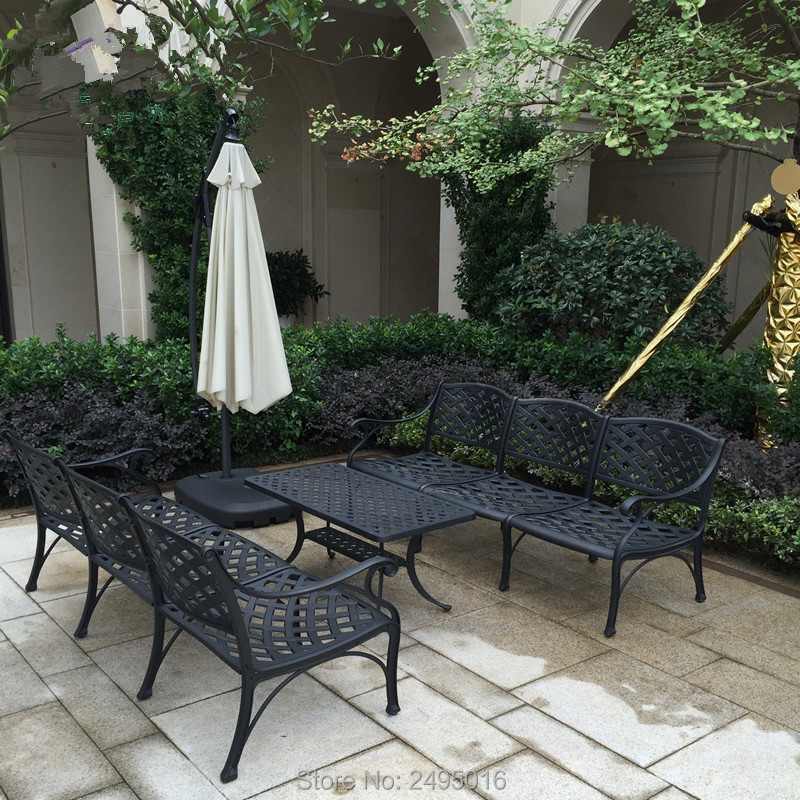 6 Person Cast Aluminum Deep Seating Conversation Set With Cushions, Series 30 End Tables And Coffee Table, Antique Bronze Finish