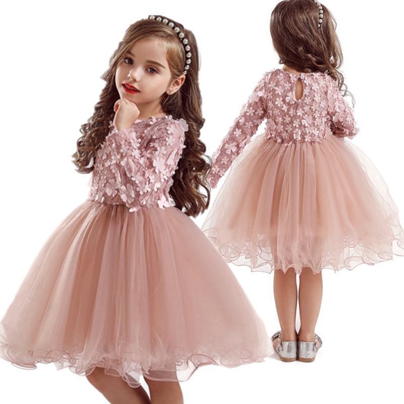 Petals Designs Girl Dress Children Party Costume Kids Formal Events Vestidos Infant Tutu Flower Dress Fluffy Innrech Market.com
