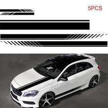 5Pcs Car Stickers side Stripes Body Decals Door Hood Cover Rearview Mirror Racing Sports Accessories for Toyota BMW Audi VW KIA