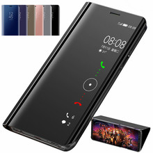 Smart Mirror Flip Phone Case For Huawei P40 Lite E Y7S Nova 6 6SE 7i Clear View PU Leather Stand Cover For V30 P40 Pro Fundas(China)
