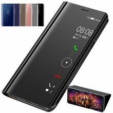 Espelho inteligente flip caso do telefone para huawei y5p y6p y7p y8p p inteligente 2020 couro do plutônio capa protetora para honra 9a 9c 9s 10s fundas
