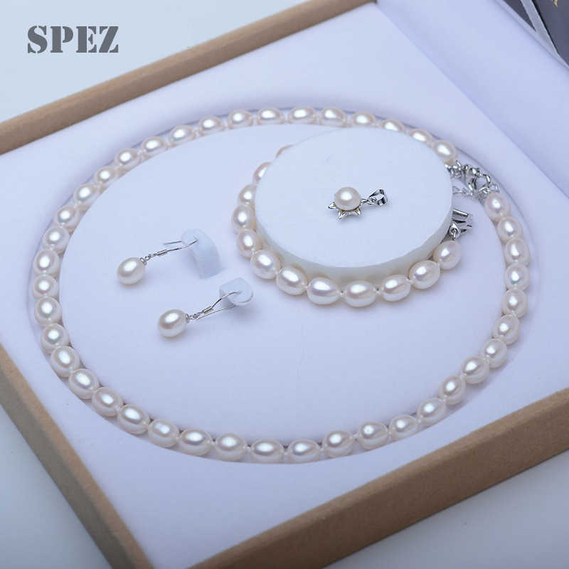 2019 Pearl Jewelry Sets Natural Freshwater Pearl Necklace Drop Earrings Bracelet 925 Sterling Silver Jewelry For Women Gift