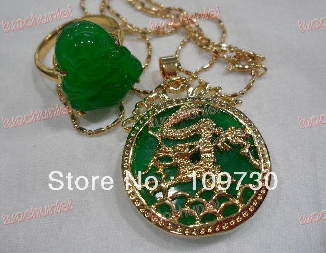 Pretty Imperial Inlay Natural Green Jade Dragon 18KGP Pendant AAA