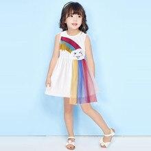 Детское платье, одежда для маленьких девочек, детское летнее платье-пачка для маленьких девочек, Радужное Тюлевое платье с оборками, наряды ...