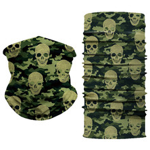 Skull Camouflage Scarf Ring Women Men Outdoor Snood Anti Dust UV Windproof Headband Bandana Half Face Mask Hijab Chiffon