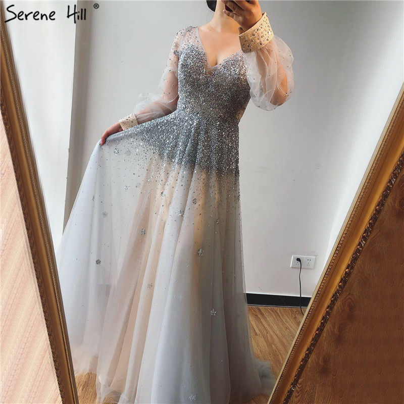 Real Photo Grey Deep-V Sexy Evening Dresses 2019 Long Sleeves Beading Sequined A-Line Evening Gowns Serene Hill LA70211
