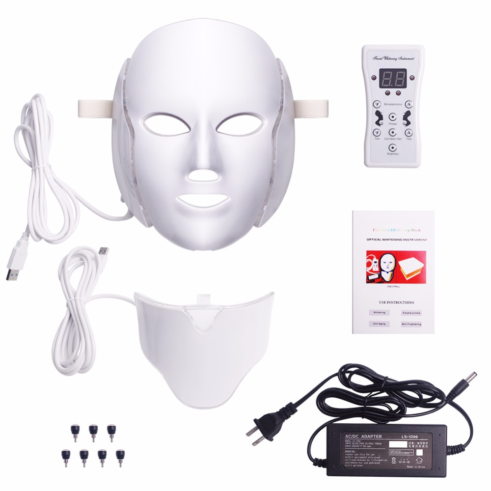 7 Colors Light LED Facial Mask With Neck Skin Rejuvenation Face Care Treatment Beauty Anti Acne Therapy Whitening Skin Tighten