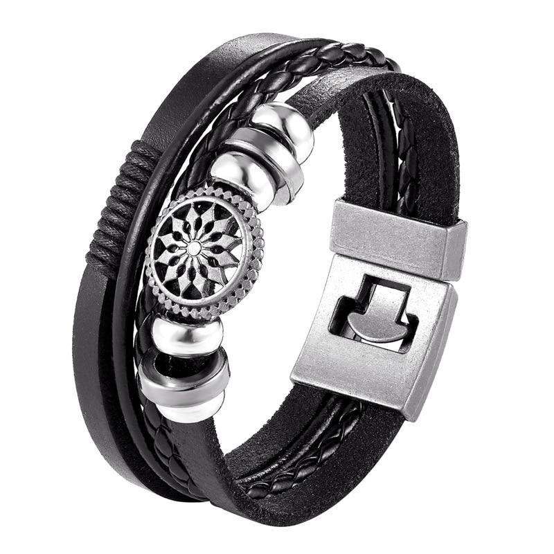 2019 Newest Design Fashion Multi-layer Leather Bracelet Men Vintage Punk Anchor Bracelets Women Nautical Jewelry Preferred Gift