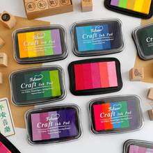 Craft Ink Pad Stamps Partner Diy Color 5 Colors Rainbow Finger Ink Pad For Kids Stamps Paper Wood Fabric
