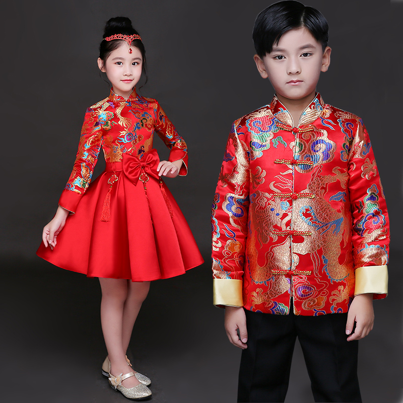 Children Cheongsam Princess Dress Girls Dress Puff Skirt Chinese Style Retro Costumes Chinese Guzheng Performance Clothing Host