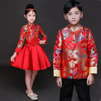 Dzieci cheongsam księżniczka sukienka dziewczyny sukienka bufiasta spódnica chiński styl retro kostiumy chiński guzheng odzież sportowa hosta tanie i dobre opinie Poliester Suknem Chłopcy