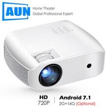 AUN מיני מקרן F10/עד, 1280*720P, אנדרואיד 7.1 (2G + 16G) WIFI LED Proyector עבור HD 1080P 3D בית קולנוע, חדש משחק וידאו Beamer