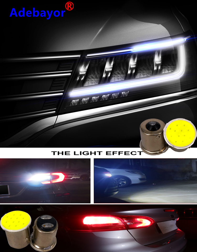 Super White10pcs Ba15s Cob P21w LED 12 SMD 1156 12V 1157 Bulbs RV Trailer Truck Interior Lamp 1073 Parking Auto Car Light